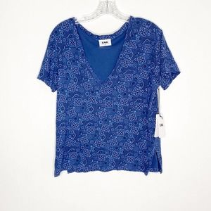 LNA blue paisley printed v neck t-shirt